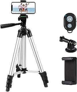 LINKCOOL Camerastatief voor iPhone/Samsung/smartphone/actiecamera/DSLR-camera, 107 cm, aluminium, licht, met smartphonehou...