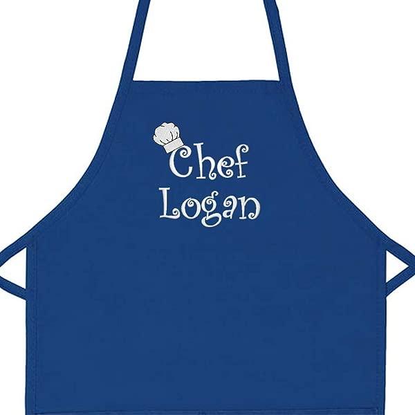 个性化厨师任何名称儿童围裙常规 20 L X 15 W 皇家 5 或 6 岁以下