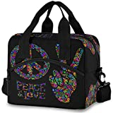 Oarencol Peace Love Symbol Two Fingers Hippie Colorful Insulated Lunch Tote Bag Reusable Cooler...