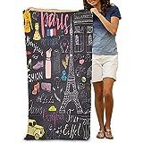 chillChur-DD Bath Towel Asciugamano da bagno Morbido telo da Mare Grande Doodles Parigi Set di elementi Torre Eiffel allevato Cafe Taxi Arco di trionfo Cattedrale di Notre Dame Elementi di Moda Gatto