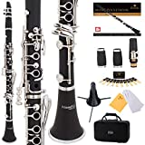 Mendini by Cecilio B Flat Beginner Student Clarinet with 2 Barrels, Case, Stand, Book, 10 Reeds, Mouthpiece and Warranty (Ebonite)