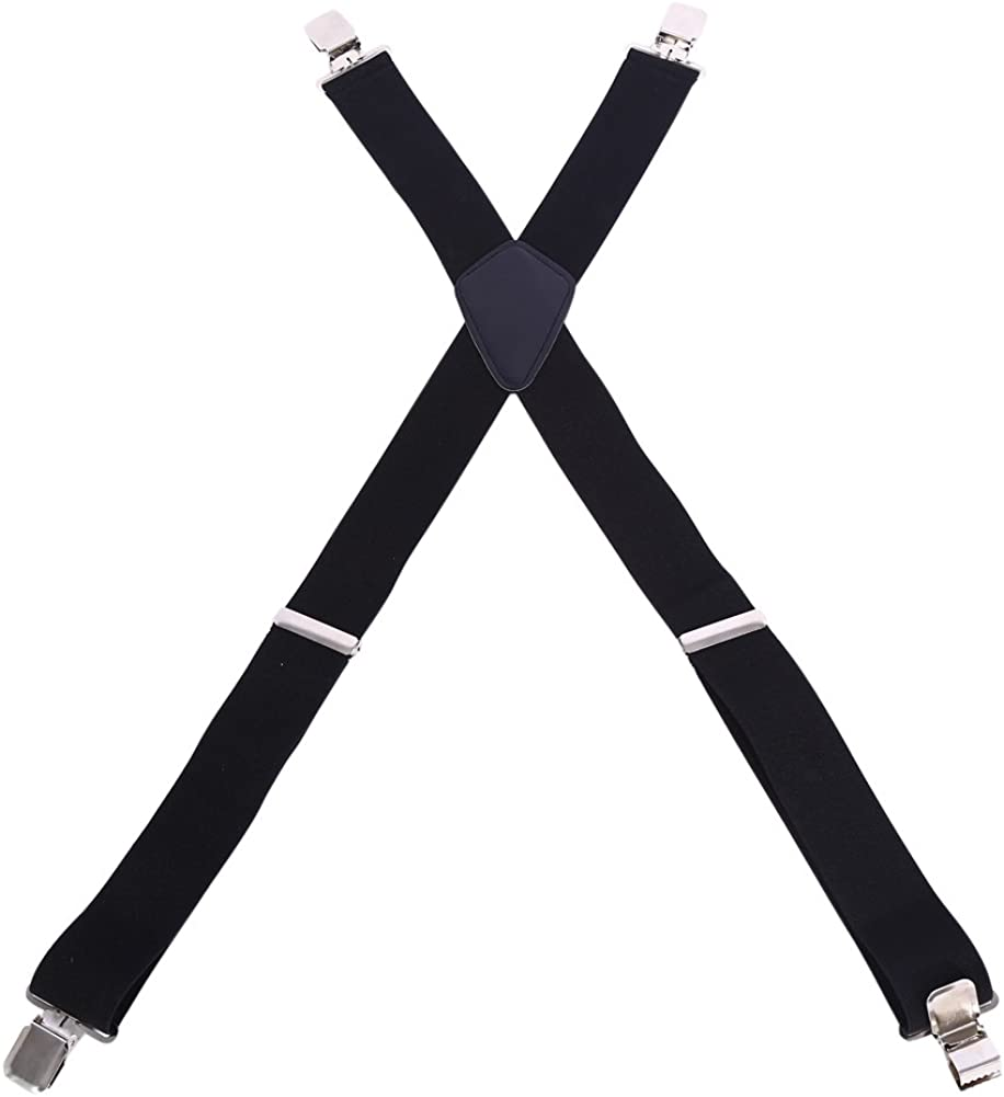 Ruiqas Mens Suspenders Superior Classic Black Trousers Elastic Braces with 4 Clips Adjustable X Shape Shorts Suspenders