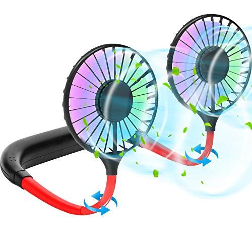 Ventilador de Cuello, 3 velocidades de Viento, Ventilador Personal Portátil USB Recargable, Ventilador de Manos Libres, Ventilador de Refrigeración con Doble Cabeza de Viento Ajustable de 360°