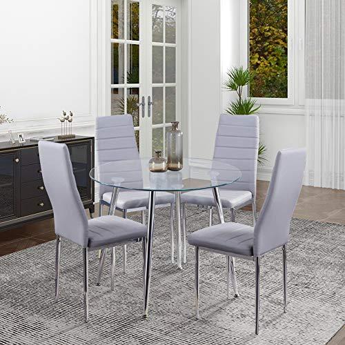 GOLDFAN Table et 4 Chaises Table à Manger en Verre Ronde Table de Cuisine Chaise en Cuir Chaise de Salle à Manger Cuisine Salon, Gris