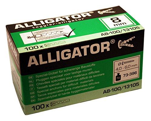 100 TOGGLER Alligator Spezial-Dübel A8 für massive Wände