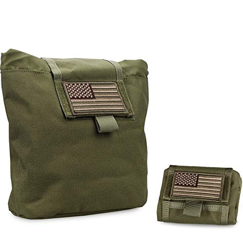 WYNEX Molle Dump Pouch Tactical, Mag Dump Pouch Foldable Magazine Recovery Pouches Roll-Up Magazine Garbage Bag Drawstring Included U.S.A Flag Patch