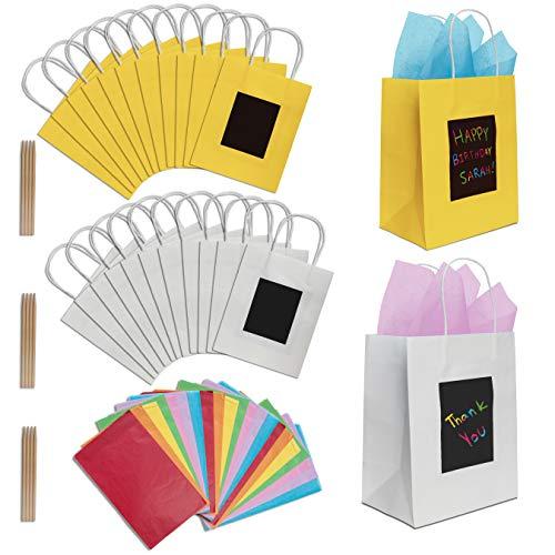 24 Geschenktüten aus Papier mit Seidenpapier von Purple Ladybug Novelty   Papiertragetaschen 19x24x12 cm individuell zu gestalten   Robuste Geschenkverpackung, Papiertaschen für Geburtstage u. v. m.