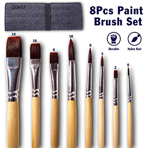 OOKU Broad Paint Brushes Set 8 Pc - Assorted Nylon Brushes for Beginners & Professional Artists - Acrylic, Watercolor, Gouache, Oil Paints- Professional Wood Handle & Durable Brushes w/Wool Wrap