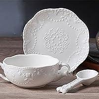 Touch Life - elegante taza de desayuno con plato de postre, taza de sopa con plato y cuchara