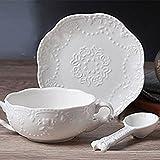 Touch Life Elegante tazza da colazione con piattino e cucchiaio White circular saucer with spoon