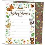 Gooji 5x7 Woodland Baby Shower Invites – Large 25pcs Double Sided Woodland Invitations with 25 Envelopes – Magical Invite Cards for Baby Shower