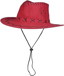 Sombrero de Vaquero Occidental Sombrero de Pistolero Niños Sombrero Tejano Vestido de Fiesta Accesorio Rojo