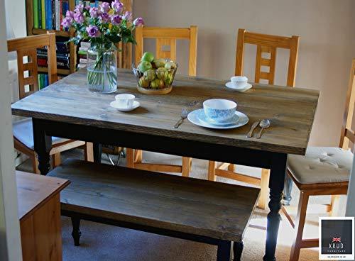 Farmhouse Table   6 Seater   Kitchen Table   4.5 Ft Table   Farmhouse Dining Table Set   Farrow & Ball Paint   Rustic Table   KRUD-47 (160cm)