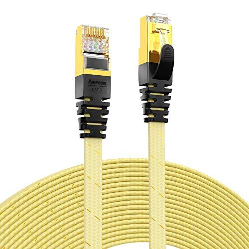 LiQinKeJi8 Duradero Cable Ethernet CAT7 (10G 600MHz), Parche de Red RJ45 Plano blindado  Cordón, Cable Plateado de Oro 50U, poliéster Trenzado para Internet, enrutador, Smart TV, computadora po