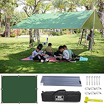 3X4 M Tarp avec Mât Telescopique Accessoire Camping Toile Ombrage Imperméable avec 2X1.8 M Poteau Bache Tente Anti UV Tarpe Bushcraft pour Auvent Caravane Hamac Abris de Jardin