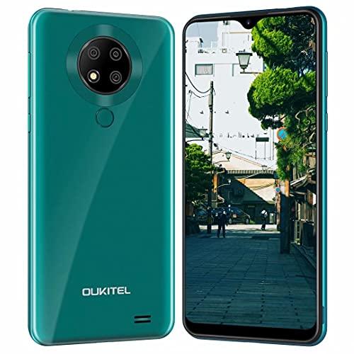 OUKITEL C19 Pro スマホ 本体 Android 10 シムフリー スマホ 6.49インチ 大画面 4GB RAM + 64GB ROM 1300万画素 トリプルリアカメラ デュアルSIM(Nano)+TF(256GB拡張 4000mAh 格安スマホ 顔認証 指紋認識 超薄型 一年保証 PSE認証&技適認証済み (緑)