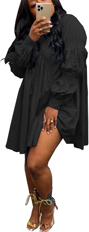 Bluewolfsea Women Fashion Ruched Long Sleeve Button Down Shirt Dress Loose Irregular Hem Tunic Tops Blouse