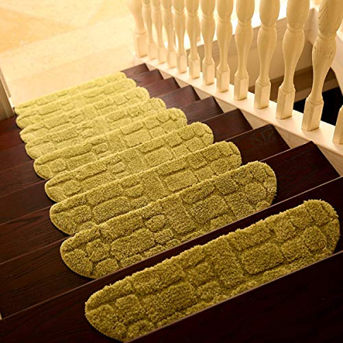 Ericcay Innen Treppen Pad Flauschige Matte rutschfest Abriebfest Schlafzimmer Saugfähig Unikat Mehrfarben 70 * 24Cm EIN Paket 1,Green 70 * 24Cm (Color : Grün, Size : 70 * 24Cm)