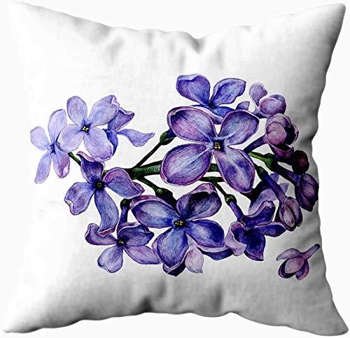 Fundas de almohada de cama, diseño de flores de color lila con fondo blanco aislado para sofá, fundas de almohada para decoración del hogar, fundas de almohada con cremallera para sofá