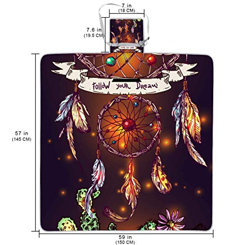 Large Picnic & Outdoor Blanket Bohemian Dream Catcher Dual Layers for Outdoor Water-Resistant Handy Mat Tote Great for Camping on The Beach Grass Waterproof Sandproof 57x59 in