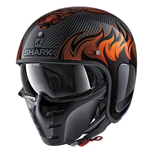Shark Unisex-Adult Full Face Helmet (Carbon Skin/Orange, L - 59-60 cm - 23.2-23.6'')