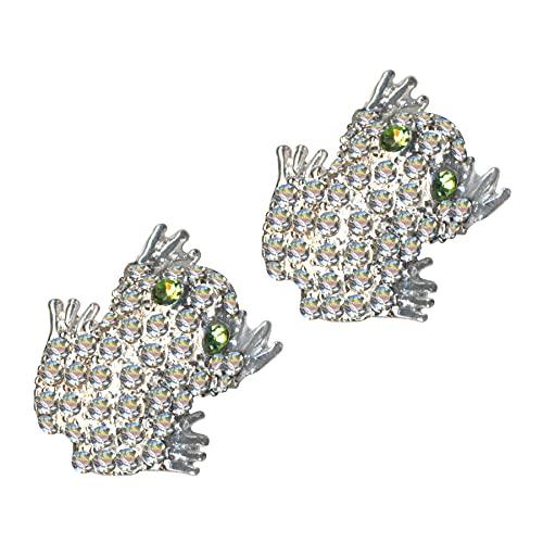 Pendientes de plata de ley 925 con diseño de rana, rana y rana, cristales de circonita, brillantes, amor, creencia, esperanza, emoción, símbolo, diseño, objeto, blanco, nuevo, transparente