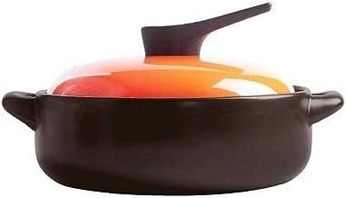 WZWHJ Black Enameled Ceramic Soup Pots Stewpot Stewing Casserole Ceramic Cooking Pot Ceramique (Size : 1.3L)