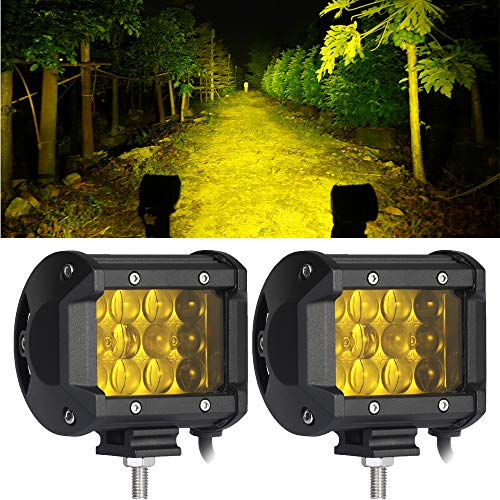 Kassam 2PCS LED Lights Bar,4Inch 4D Lenses 36W Triple Yellow(Amber) Pods Row Beam,Waterproof Flood Spot Comb Driving Fog Light,for Truck Off Road Jeep SUV ATV UTV Boat