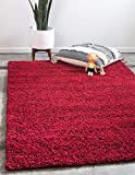 Unique Loom Solo Solid Shag Collection Modern Plush Cherry Red Area Rug (2' 2 x 3' 0)