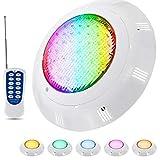 LLC-POWER Piscine avec Lumières RGB 300 Changement De Couleur LED, Télécommande sous-Marine Piscine Lampe, IP68 Projecteur Étanche Veilleuse Lampe, pour Aquarium Étang,35W