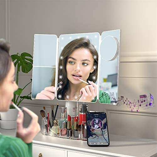 Hansong Makeup Mirror with Lights and Bluetooth Tri Fold Vanity Mirror with Magnification 2x product image