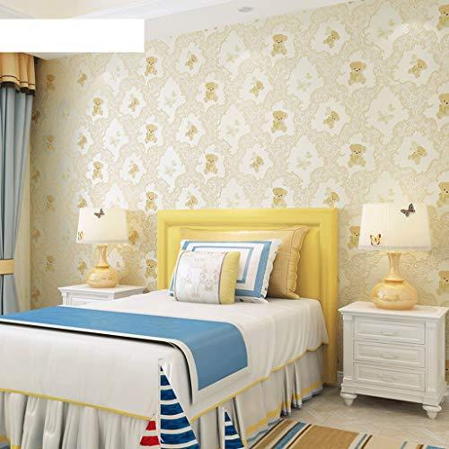 LYC behang lijm karikatuur vlies zelfklevend behang stickers voor slaapkamer kinderkamer TV achtergrond decoratie 0,53 × 5 m/rol