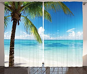 Ambesonne Ocean Curtains Exotic Beach Water and Palm Tree by The Shore with Clear Sky Landscape Image Living Room Bedroom Window Drapes 2 Panel Set 108  X 63  Green Blue