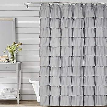 Volens Gray/Grey Ruffle Shower Curtain Fabric/Cloth/Rustic Shower Curtains for Bathroom 72 x 72 inch Long