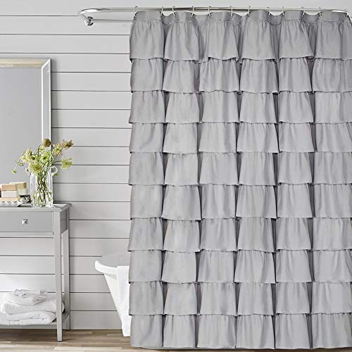 Volens Gray/Grey Ruffle Shower Curtain Fabric/Cloth/Rustic Shower Curtains for Bathroom, 72 x 72 inch Long