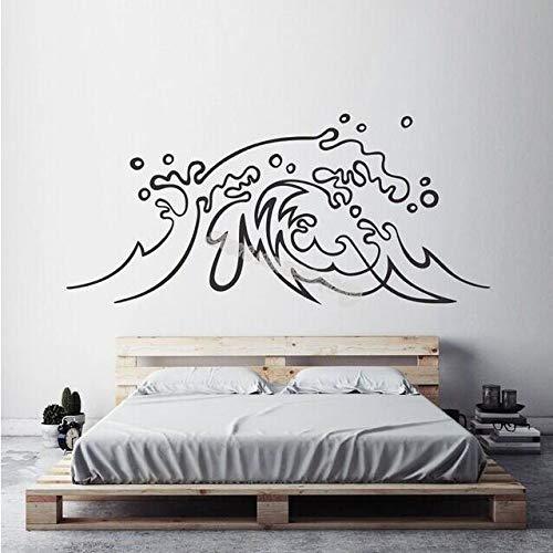 JXWR 92x42cm Ola Vinilo Adhesivos de Pared Barco Marino baño decoración Apliques Dormitorio sofá Fondo Impermeable Cartel Papel Tapiz