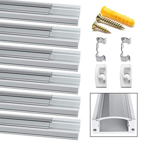 Perfil LED, Jirvyuk 6 Pack 1Meter/3,3 ft Perfil de Aluminio LED para Luces de Tira del LED con Cubierta Transparent, Los Casquillos de Extremo y los Clips de Montaje del Metal -Transparente