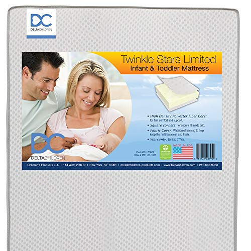 Delta Children Twinkle Stars Limited Recycled Fiber Core Crib and Toddler Mattress - Airflow Cover - Waterproof - GREENGUARD Gold Certified - Trusted 7 Year Warranty - Made in The USA