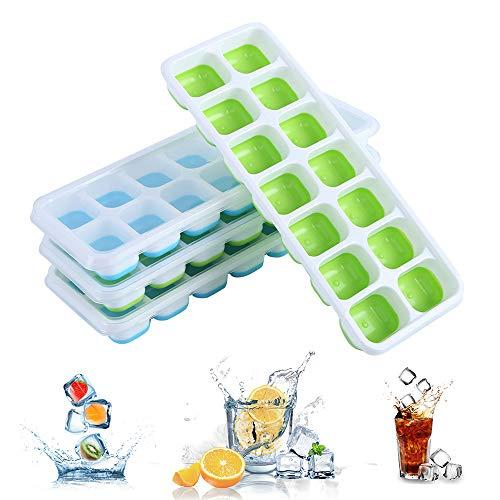 Ice Cube Trays (set van 4), flexibele herbruikbare siliconen ijsblokjes trays met deksels, resistente ijsblokjesmaker, ijsblokjes mallen voor vriezer, babyvoeding, whisky, cocktails