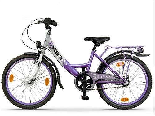 XB3 20 Zoll Kinderfahrrad für Mädchen-Jungen ab 6 Jahre, 3 Gänge Shimano Naben-Schaltung, Mädchenfahrrad mit Rücktrittbremse, Nabendynamo LED Beleuchtung | LED-Licht StVZO | Weiß/Lila
