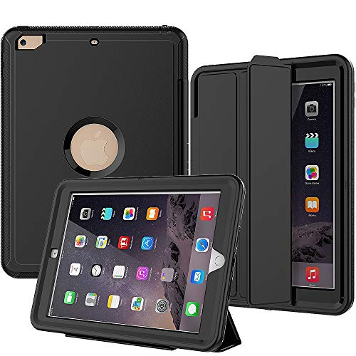 SEYMAC iPad 6th Generation Case, Three Layer Drop Protection Rugged Case with Smart Cover Auto Sleep/ Wake & Stand Feature for iPad 9.7 inch 5th/ 6th Generation (Model a1893, a1954, a1822) Black