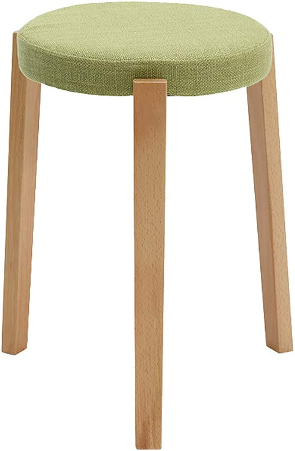 Table Stool, Solid Wood Sofa Footstools Bedroom Flax Matcha Green Dining Desk Dressing Bench Change shoes Stool (color   B)