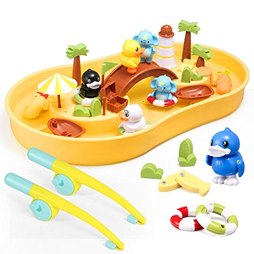 Zand en water speeltafel, Vissen Toys Game Set for Kids for Bath Time Pool Party met Pole Rod Net, Peuter Onderwijs Onderwijs Leeftijd 3+