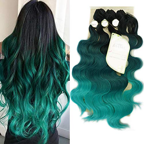 HANNE Ombre Color Hair Synthetic Body Wave Hair 18'20'22' with Closure Heat Resistant Fiber Hair Colorful Synthetic Hair Extensions (Black&Green&Light Green)