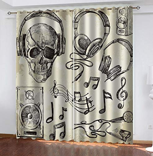 zpangg Black Out Window Cover Skull Blackout For Children Bedroom Eyelet Thermal Insulated Room Darkening Curtains For Nursery Living Room Bedroom 184×214Cm