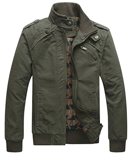 chouyatou Men's Casual Long Sleeve Full Zip Jacket with Shoulder Straps (Medium, Army Green)