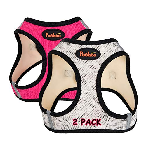 Poohoo 2 Pack Step-in Double Layers Mesh Dog Vest Harness Adjustable Soft Padded Breathable Easy to Put on for Small Medium Dogs (M(Chest:17.2