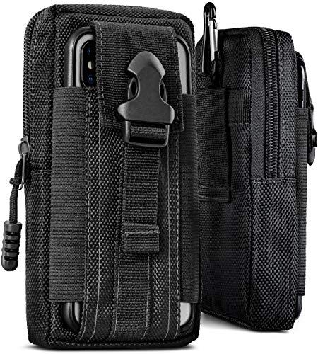 ONEFLOW® Multifunktionale Gürtel Handy-Tasche aus Oxford Nylon für alle Smartphones | Universal Handy-Gürteltasche Hülle mit Karabiner - Sport Outdoor Handyhülle, Schwarz (Havoc-Black)