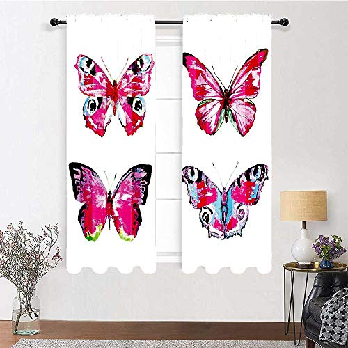Bedroom Curtain Set of Artistic Butterflies Spring Nature Wildlife Insects Vintage Thermal Insulated Blackout Window Curtain for Living Room (2 Pieces, 42 inches Wide Each Panel)