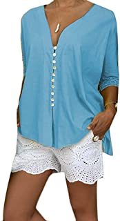 Mogogo Women's Loose Fit Solid Lacework Plus-Size Blouses Shirt Tops